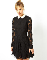New Hot Saling White Turn Down Collar Women Lace Dress for Winter Lady Quality Dress Free CPAM YS94698