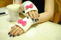 Sweet Christmas Gift 2014 Winter Cute Bowknot Women Ladies Girl Fingerless Knitted Gloves Half Finger Mittens Free Shipping