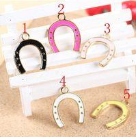 Enameled horseshoe charm pendant, 5 colors mixed, 27x33mm, wholesale