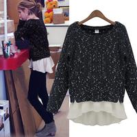 Free shipping new large size women's long-sleeved round neck sweater stitching chiffon shirt