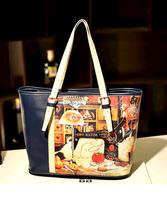2014 Fashion Lady Bag Korea Cartoon Retro Oil Painting Women Handbag Hit Color Shoulder Bags
