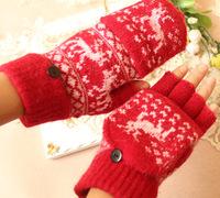 Sweet Christmas Gift Winter Cute Cartoon Deer Knitted Women Ladies Girl Fingerless Gloves Half Finger Mittens Free Shipping