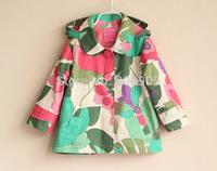 retail Girls Outerwear & coats children autumn flower  trench ,  coat jackets for children girl kids  clothing