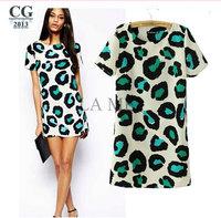 2014 Summer New Women's Short Sleeve Leopard Print Sexy Mini Casual Summer Dresses S~XXL Plus Size#VI025