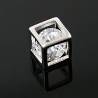 2014 New Arrival 2pcs/lot Genuine 925 Sterling Silver Cube Charms with Crystal 7*7mm CN-BJS306 ,Yiwu