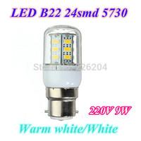 B22 9W 24LED SMD5730 LED Bulbs 220V LED Lights Warm white/cold white LED Corn Bulb 2years warranty