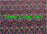 145*100cm 50svintage dress fabric Graphic geometric triangle pattern printing satin fabric black handmade DIY