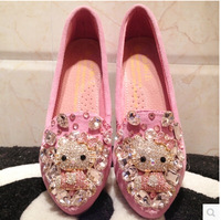 Fashion pink hello kitty casual flats autumn diamond leather casual shoes breathable flat woman's shoes hot sale