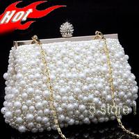 2014 Newest Luxury Pearl Handbag Women Rhinestone Clutch Evening Lady Shoulder Bag Free Shipping