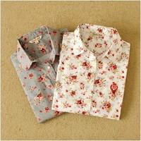 Autumn 2014 Fashion women work wear vintage floral print cotton blouse long sleeve elegant Shirts casual slim tops S-- XXLW00439
