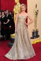 2014 Luxury Nova Moda Vestidos Beading Strapless Off the Shoulder A-line Gold Long Fashion Oscar Celebrity Evening Dress