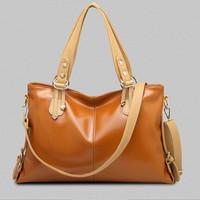 Free shipping Weidi soft genuine leather brown khaki cream large capacity women handbag high quality lady messenger bag