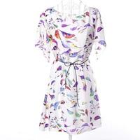 2014 New Women's Short Sleeve Birds Printed Chiffon Mini Casual Summer Dresses With Sash XXL Plus Size#VI022
