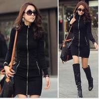 2014 slim Korean Style Fashion Casual Black Zipper-up Long sleeve Bodycon Dress Fitness Women dresses plus size XXXL#DJW15