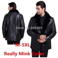 2014 new fashion Autumn winter men's leather fur coat jacket raccoon fur black leather jackets for men Dropship