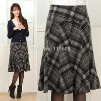 New Fashionn Woman Skirts LadeisPlaid A-Line Medium Skirt Women Autumn Winter EuropeanStyle Skirt Plus Size Woolen Casual Skirts