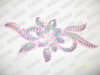 Stage sequined headdress flower head flower / decorative props dance costume accessories gauze pink flower sequins applique