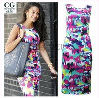 2014 New Women's Slim Sleeveless Fashion Casual Dresses Floral Splash Printed Celebrity Summer Dress XXL Plus Size#VI024