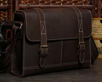 Vintage Style Men Designer Leather Bag Genuine Leather Cross Body Bags Portfolio Satchel Messenger Bag TIDING 1120