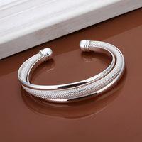 New Drop Shipping Sliver Plated Fashion Womens Elegant Open End Hypotenuse Mesh Bangle Bracelet Popular Jewelry LKNSPCB0419