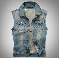 Free Shipping fashion  Men's sleeveless denim vest Men's Slim Cowboys  vest   jacket