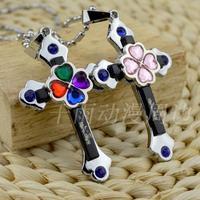 Anime Japan  Shugo Chara! NecCrystal  Hinamori Amu Clover Cross Pendant Necklace couple birthday gift
