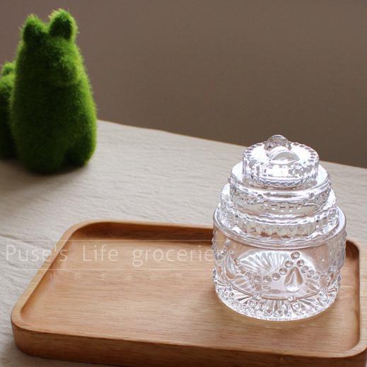 New 2014 IKEA Zakka Japanese style Cake shape glass candy storage boxes Personalized jewelry boxes Best Gifts Home decoration(China (Mainland))