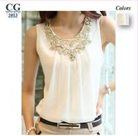 2014 Summer New Women Sleeveless Vest Straps Bottoming Wrinkled White Shirt Chiffon Blouses shirts Black/White Plus Size#CGS016
