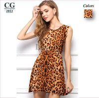 2014 Spring Summer New Large Size Milk Silk Leopard Casual Summer Dress Tank Dresses S/M/L/XL#VI015