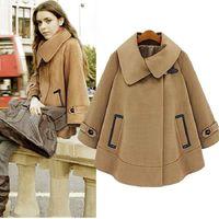 Women Warm Raglan Sleeve Carpet Lapel Oversized Coat Woollen Dustwear Jacket Outwear #66136