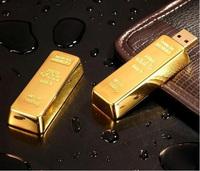 10pcs wholesale Golden Bar Shape New Metal USB 2.0 4GB 8GB 16GB 32GB Flash Drive Stick Pen Thumb Memory
