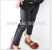 5Pcs/lot 2014 Years Girls Stitching Leather Pants Washed Leather Cotton + Lycra