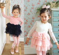 Baby Girl Fall  Korea Lace Bow Cake Dress, Kids Cute  Long Sleeve Clothing Wholesale 5 pcs/lot, Free Shipping