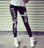 Women Gun /Work out Printed Leggings Harajuku Women'Leggings Fashion 2014 Summer-Autumn Pants Ankle Length