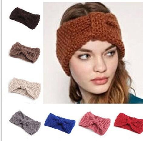 2014 Fashion Women girl Headwear knitted headband crochet head wrap ear warmer hair band accessories(China (Mainland))