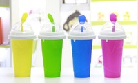 2014 newest Creative Sand ice cup ice cream cup DIY homemade smoothies  330ml Squeeze smoothie cup   slush maker  2pcs/lot