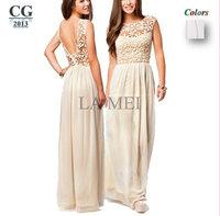 New 2014 Women's Blackless Lace Flower Crochet Sleeveless Sexy Long Beach Dress Chiffon Floor Length Elegant Evening Dress#VI029