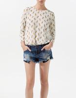 Blusas femininas 2014 woman clothes new puppy printed chiffon shirt printing rivets casual women blouses B025