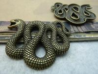 5Pcs Antique Bronze Tone Snake Charms DIY Jewelry Making