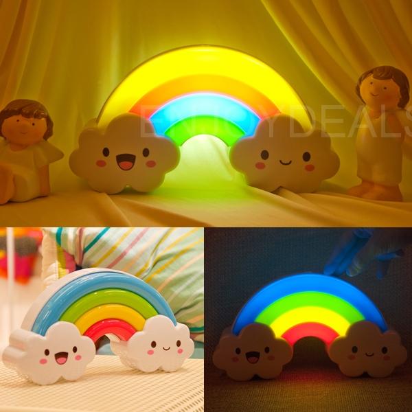 Beautiful and Practical New Designed Rainbow Cloud Shaped LED Nightlight Sound Light Sense Lamp 2014 top quality(China (Mainland))