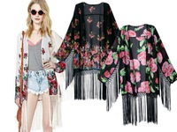 OME6329 Kimono Cardigan 2014 Women sexy Elegant Flower Blouse Lady's Fashion 3 colors Print Cardigan Chiffon Tassel Kimonos