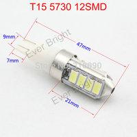 Super Bright!! 100pieces/lot T15 W5W 194 168 5730 12 SMD 12V DC Leds 12 Led White License Plate Light Parking Lamps Car Lamps