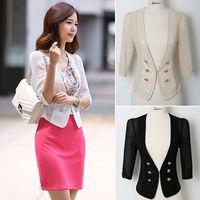 Women Half Sleeve Chiffon Lace Hollow Split Short Blazer Shrug Oversized Coat Outwear #66141