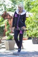Mini gum Free Shipping New 2014 women fashion 2pcs tracksuit sportwear print hood long sleeve hoody sweatshirt s m l