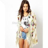 NCI2118 Kimono Cardigan 2014 Fashion Women Summer Tassel Sleeve blouse European Style Floral Print coat kimonos shirts