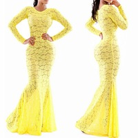 2014 Summer Women Sexy Yellow Lace Bodycon Dress Long Sleeve Maxi Long Evening Prom Dress Celebrity Club Party Dresses
