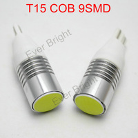 New!! 50pieces/lot T15 COB 9 SMD W5W 194 168 12V DC Leds 9 Led White Reading Light Parking Lamps Car Lamps Clearance Light