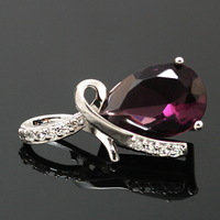 2pcs/lot Genuine 925 Sterling Silver Water Drop Charms with Crystal 12*26mm CN-BJS307