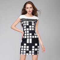 XXL Brand Women Brief Black White Plaid Dress Women Print Plus Size Dresses 2014 Summer Fashion Ladies Clothing casual dress