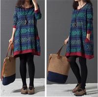 Plus Size Folk literature and art van printed cotton dress Maternity Dress Clothes  Dresses  FF100